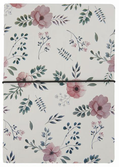 Notizbuch  A5 Weiß mit Blumen