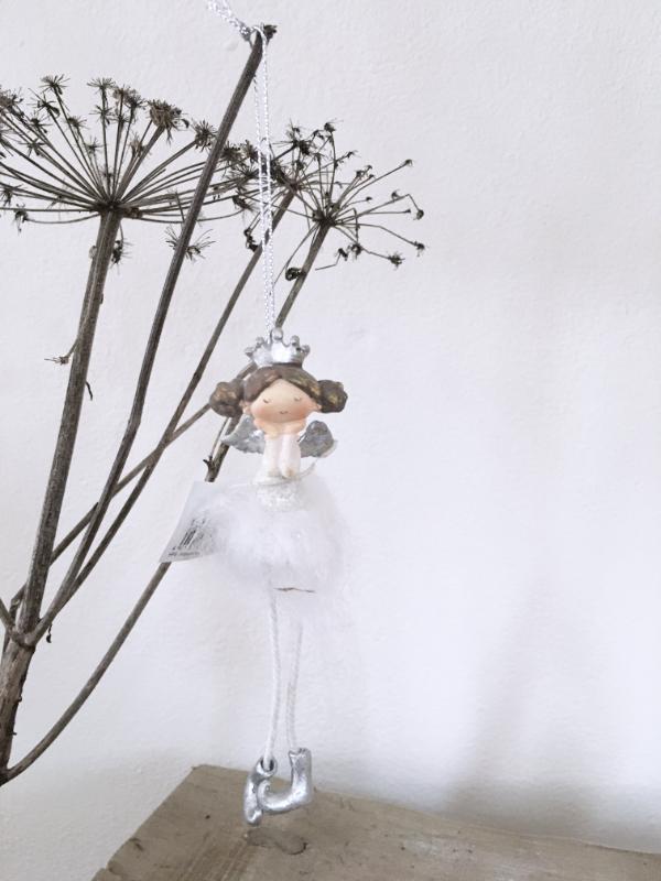 Engel mit Krone weiß