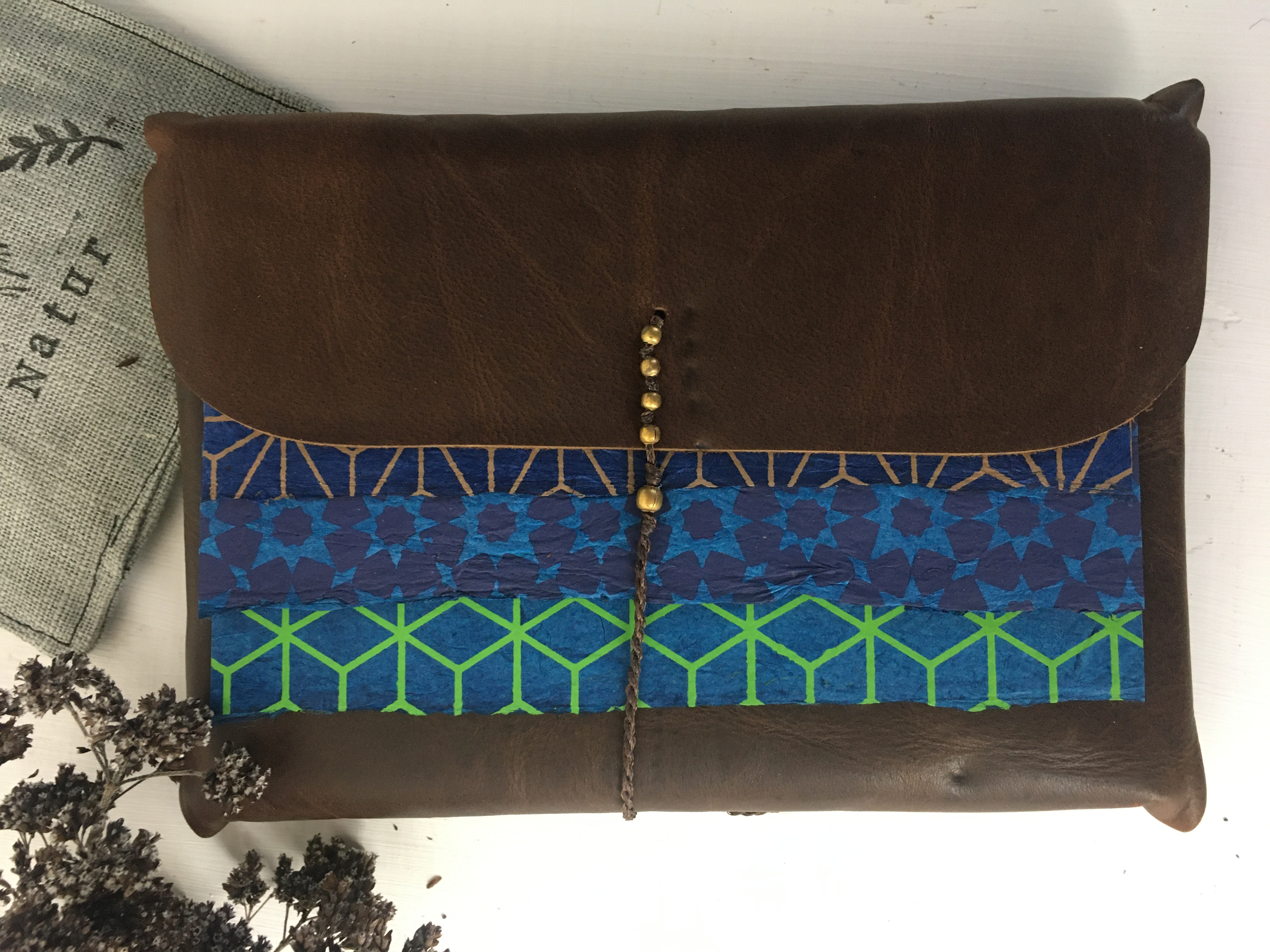 Notizbuch echtes Leder Handarbeit 11 x 15 cm Blau-Grün