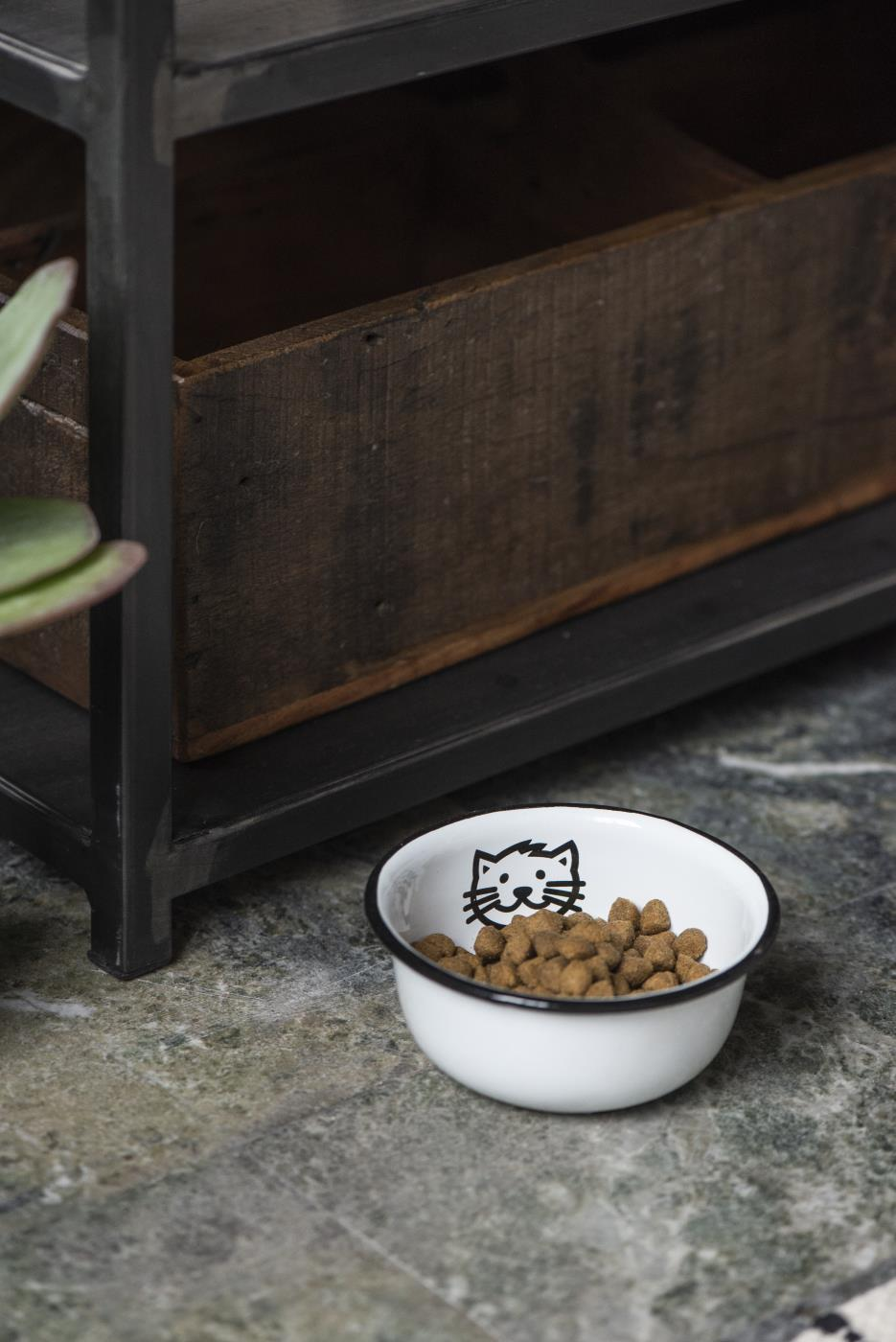 Fressnapf aus Emaille Katze