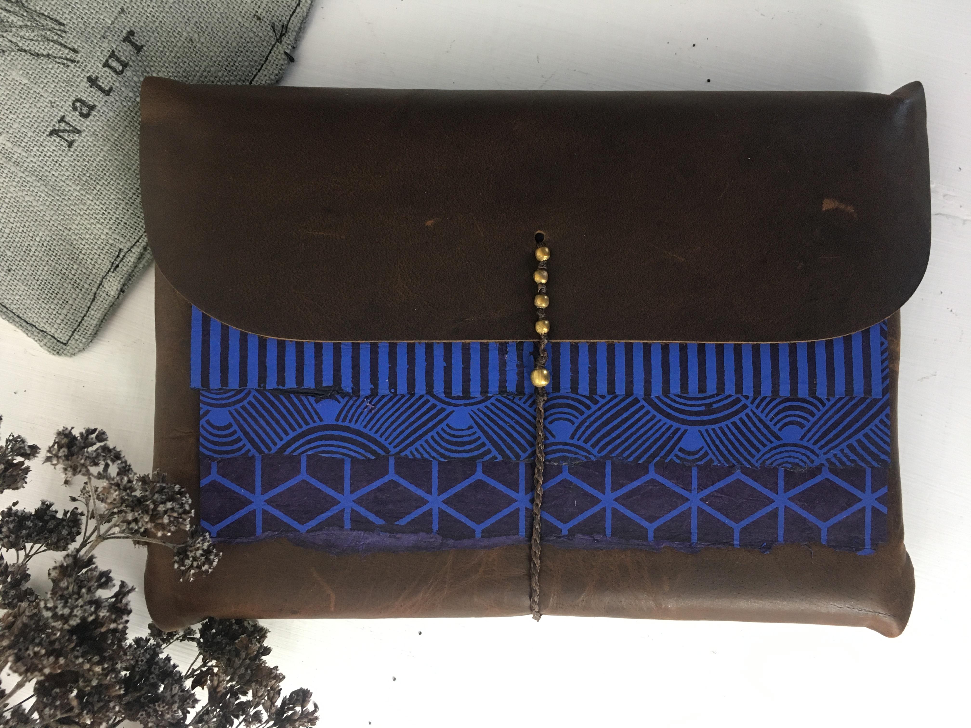 Notizbuch echtes Leder Handarbeit 11 x 15 cm Blau